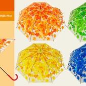 Зонтик 73см Осень листочки 4 цвета, прозрачная клеенка E12808 зонт