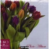 Альбом на 200 фото с цветами, место для записей, книжный переплет, 301-040