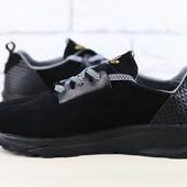 Код: 2434 Мужские кроссовки, черные, из натуральной замши