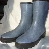 Фирменные резиновые сапоги 43р-29см стелька, модные под джинсу, не промокают