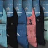 Носки женские Adidas, средние, 4 модели, деми спорт х/б, цветное ассорти