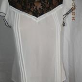 Бело-черная блуза с кружевом