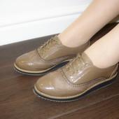 Туфли 3 цвета на шнурках толстая подошва оксфорды Н7003
