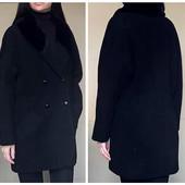 Пальто женское с меховым воротником оверсайз