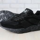 Мужские кроссовки, черные, комбинированные: с текстильными, замшевыми и кожаными вставками, на шнурк