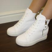 Ботинки сникерсы белые Д502