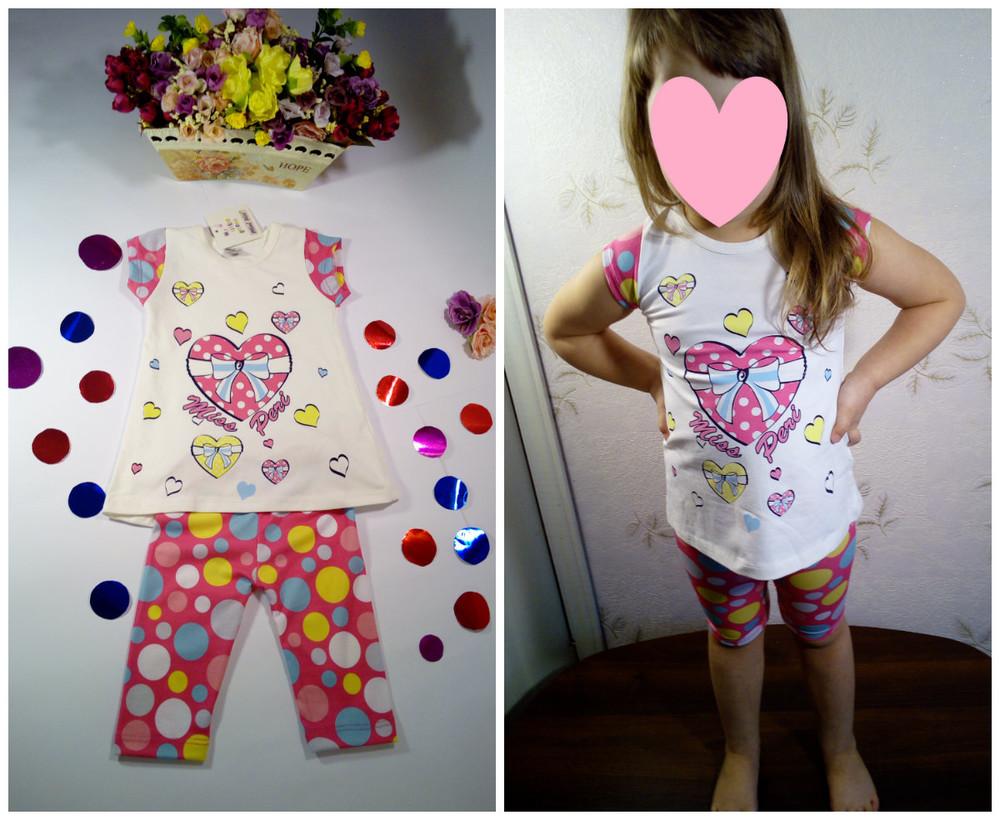 Летний костюм для девочки футболка и бриджи турция размер 6 на рост 104-116  фото №1
