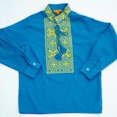 Вышиванка для мальчика батист голубая