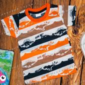 Легкая футболка на мальчика Динозавры, 98 104 116 размер, Турция