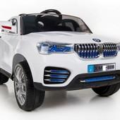 Электро автомобиль белый джип bmw на р. у.12v7ah с MP3 T-7812