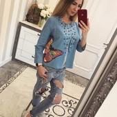 Кардиган ткань- джинс с подкладкой