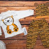 Костюм Тигренок, 62 размер, 100% хлопок, шапочка кофта штаны, Турция
