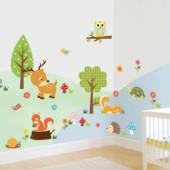 Наклейка на стену для детской «Лесные зверята»