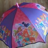 Яркий красивенный детский зонт зонтик трость Винкс  для девочки 3-8 лет