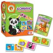 Настольная игра Vladi Toys Детское Домино Зоопарк, дикие животные, 28 карточек, стихи загадки, цифры