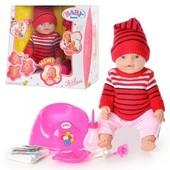 Кукла-пупс Baby Born (копия), красный свитер полный к-т. BB 8001 G 9 функций, 10 аксессуаров, пищалк