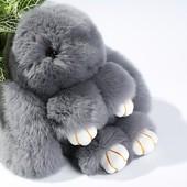 Меховой брелок Кролик серый