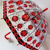 Качественный купольный прозрачный детский зонт зонтик трость для девочки Божьи коровки