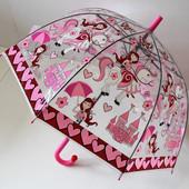 Качественный купольный прозрачный детский зонт зонтик трость для девочки Принцессы