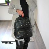 Стильный черный женский рюкзак с заклепками купить недорого