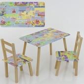 Столик и два стульчика деревянные Пеппа