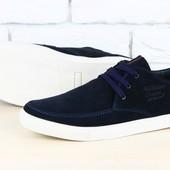 Кеды мужские синие замшевые на шнурках