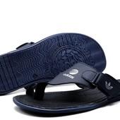 Шлепанцы Adidas Lite, р. 40-45, натур. кожа, черн, син, код kv-2810