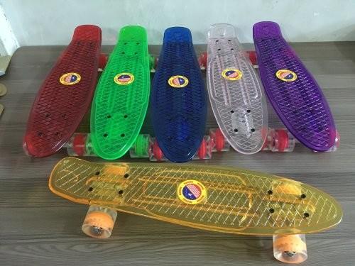 Скейт пенни борд прозрачный 54 см. колеса pu фото №1