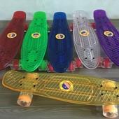 Скейт пенни борд прозрачный 54 см. колеса PU