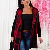 Размеры 48-56 Стильный теплый женский пиджак-кардиган