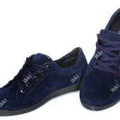Стильные мужские кроссовки эко-замша синие (БЛ-04с)