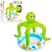 """Детский надувной бассейн с навесом """"Осьминог"""" 57115"""