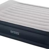 Надувная велюровая кровать Intex 67738 со встроенным насосом 152 - 203 - 43 см