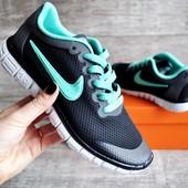 Кроссовки женские Nike Free Run 3.0 black/mint