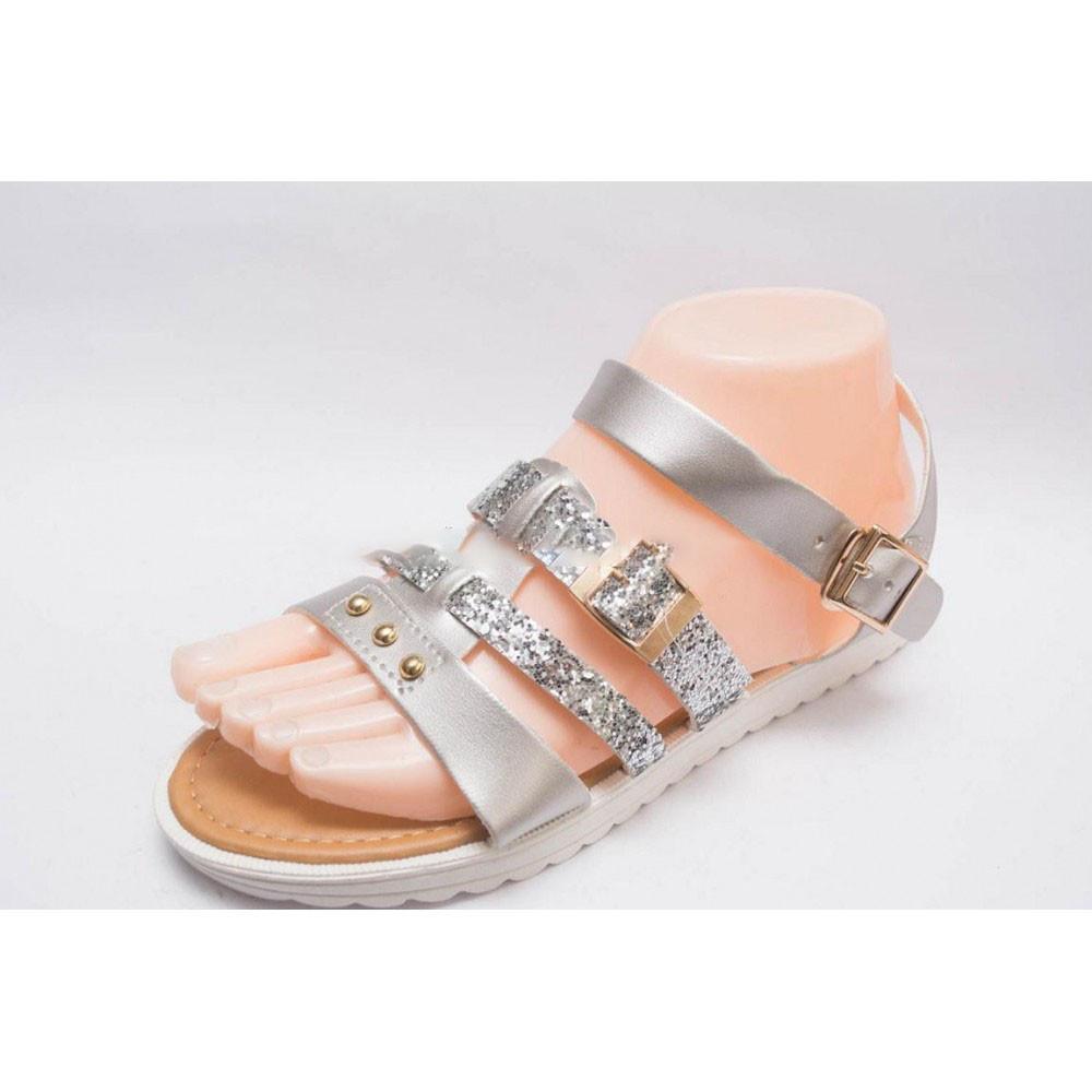 Босоножки сандалии женские серебро на низком ходу белая подошва фото №1