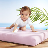 Набор 2 детские простыни на резинке белая и розовая р.60х120 Tchibo Германия