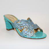 Шлепанцы женские голубые Б750