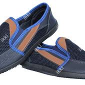 Синие стильные мужские летние мокасины (БЛ-15)