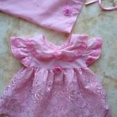 Нарядное платье на принцессу с косыночкой на возраст примерно с 0 до 9 мес