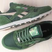 Мужские кроссовки, зеленого цвета, из натуральной замши, с кожаными вставками, на шнурках