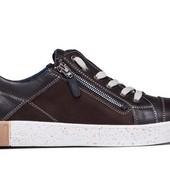 Кроссовки коричневые с молнией - кожаные (017к)