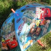 Яркий красивенный зонт зонтик трость для мальчика Тачки поливинил. 3-8 лет