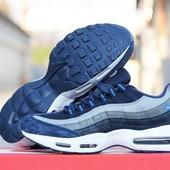 Кроссовки  Nike 95  темно сині з сірим