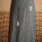 Джинсовая юбка за колено,М, 46р., смотрим замеры.