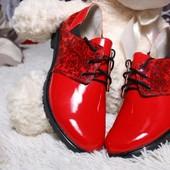 Туфли на шнурках из натур. кожи, красный, р. 36-41, код vkso-2272