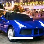 Детский электромобиль M 3284 eblr-4 Феррари с кожаным сиденьем, синий