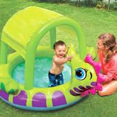 Надувной детский бассейн с навесом Морской конек