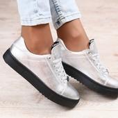Криперы, кожаные, серебристые, на черной подошве, на шнурках