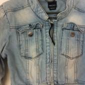 Джинсовый укороченный пиджак на змейке Miss Sixty M
