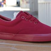 Женские кеды мокасины низкие аналог ванс vans красные бордовые